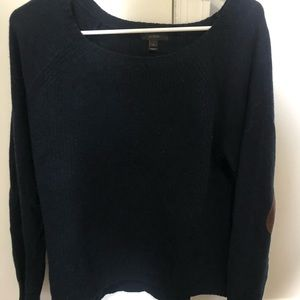 JCrew Wool Sweater with Leather Elbow Pads